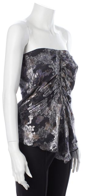 ISABEL MARANT Black Silver Abstract Silk Tube Top Blouse