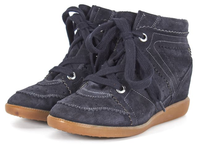 ISABEL MARANT Navy Blue Perforated Suede Hidden Wedge Sneakers