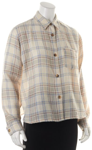 ISABEL MARANT Ivory Red Blue Plaid Wool Kessa Button Down Shirt