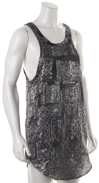 ISABEL MARANT Silver Black Embroidered Sheer Silk Tank Mini Dress