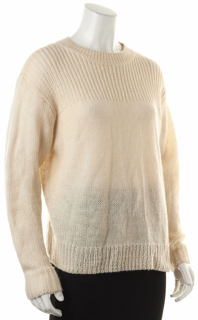 ISABEL MARANT Ivory Wool Crewneck Open Knit Split Side Sweater