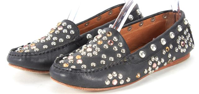 ISABEL MARANT Black Silver Jewel Stud Embellished Leather Loafers
