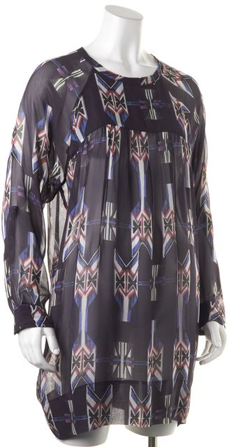 ISABEL MARANT Blue White Knee Length Semi Sheer Abstract Silk Shift Dress