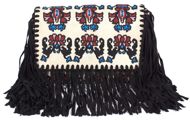 ISABEL MARANT Beige Red Black Suede Embroidered Fringe Shoulder Bag