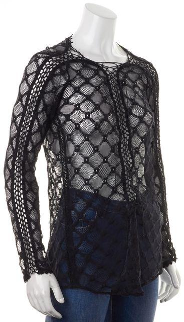 ISABEL MARANT Black Sheer Cotton Crochet Lace Tie Front Knit Top