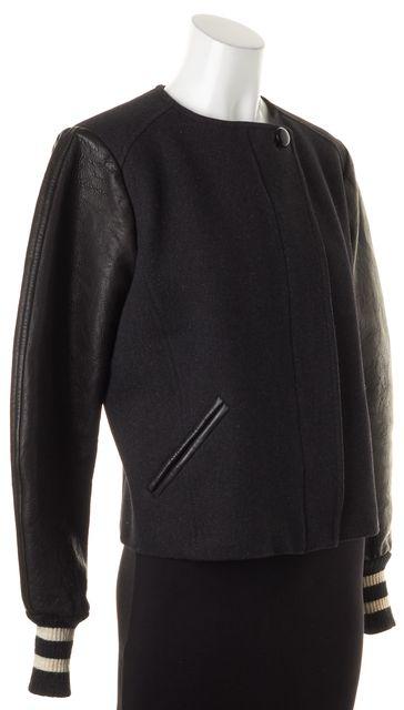 ISABEL MARANT Black Wool Leather Trim & Sleeves Bomber Style Jacket