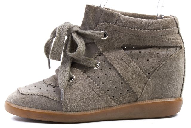 ISABEL MARANT Gray Suede Stainer Basket Bobby Lace Up Sneakers