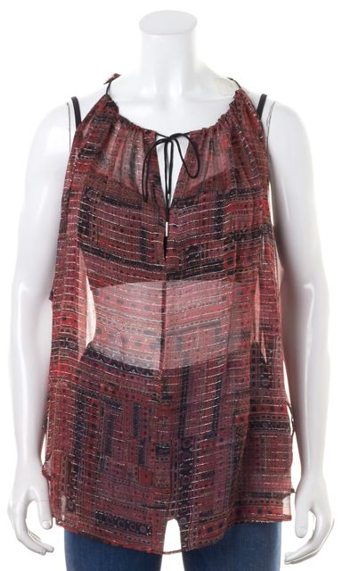 ISABEL MARANT Red Silver Abstract Print Silk Spaghetti Strap Blouse
