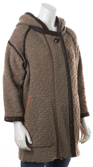 ISABEL MARANT Brown Wool Knit Lamb Leather Hooded Coat Coat