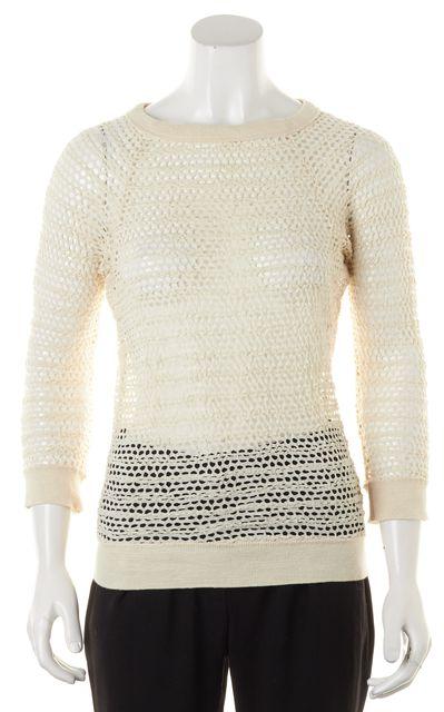 ISABEL MARANT Ivory Sheer Open Knit 3/4 Sleeve Crewneck Top