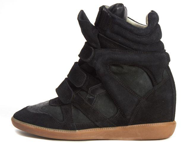 ISABEL MARANT Black Suede Hidden Wedge High-Top Sneakers