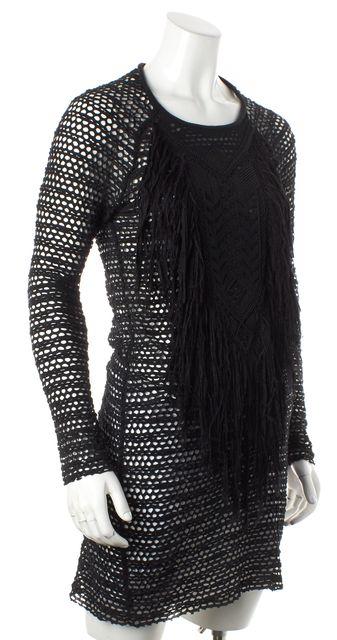 ISABEL MARANT Black Beaded Fringe Stretch Open Knit Dress
