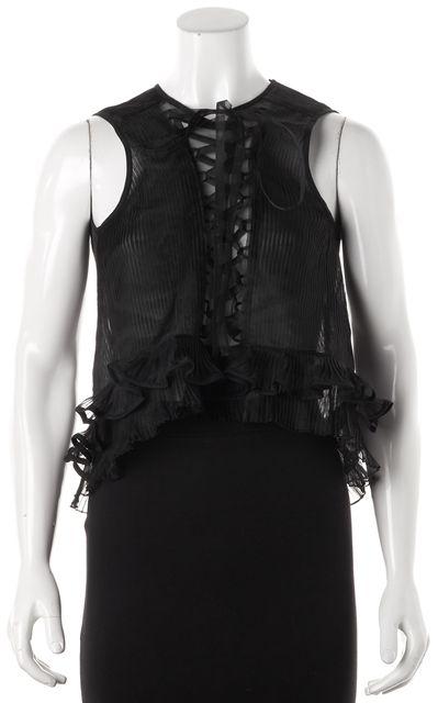 ISABEL MARANT Black Silk Pleated Ruffle Lace-Up Sleeveless Blouse