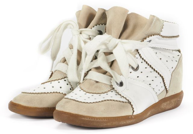 ISABEL MARANT White Leather Perforated Beige Suede Sneaker Wedges