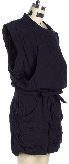 ISABEL MARANT Black Cotton Sleeveless Zip-Up Utility Romper