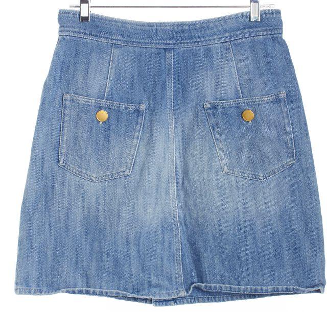 ISABEL MARANT Blue Denim Button Front Straight Skirt