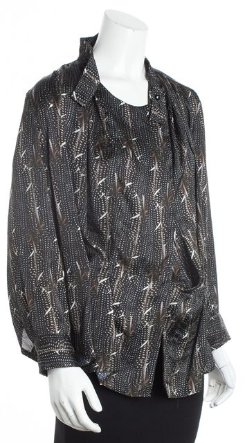 ISABEL MARANT Black Abstract Long Sleeve Drape Blouse