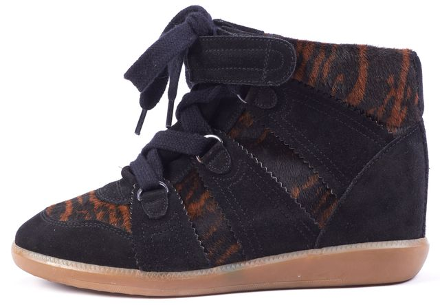 ISABEL MARANT Black Suede Blossom Pony Hair wedge Sneakers