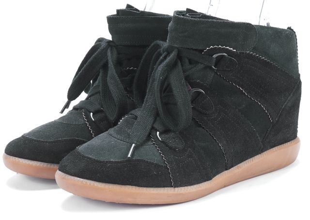 ISABEL MARANT Black Suede Hidden Wedge Lace Up Sneakers Size US 9.5 EUR 41