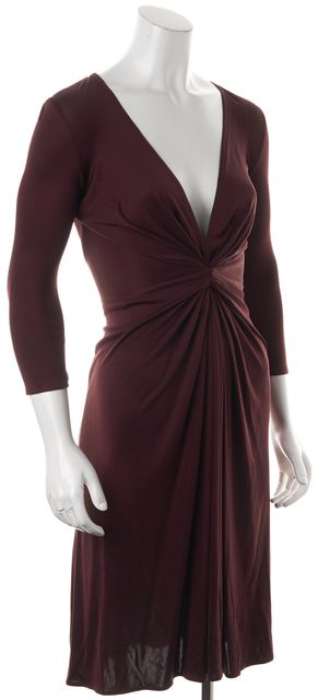 ISSA LONDON Red Burgundy Silk Faux Wrap Twist Front Dress