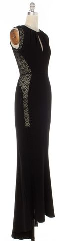 INTERMIX Black Crochet Detail Maxi Dress
