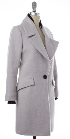 INTERMIX Gray Wool Single Button Coat Size P