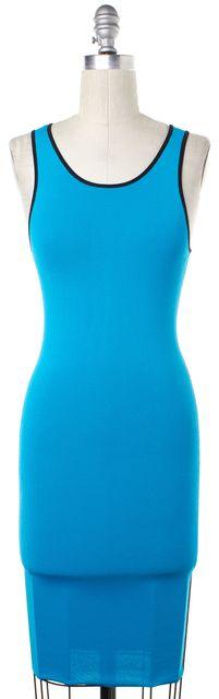 INTERMIX Neon Blue Black Colorblock Sleeveless Bodycon Dress