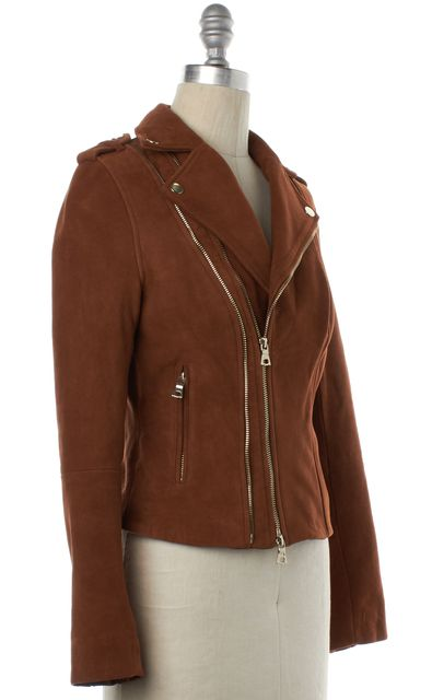 INTERMIX Brown Suede Leather Asymmetric Motorcycle Jacket