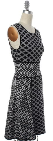 INTERMIX Black White Stretch Fit Flare Dress