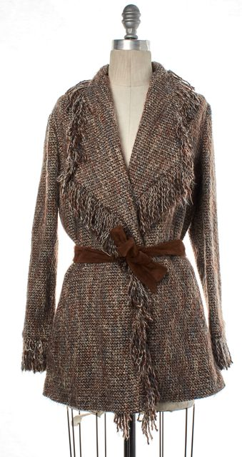 INTERMIX Brown Tweed Raw Edge Belted Coat