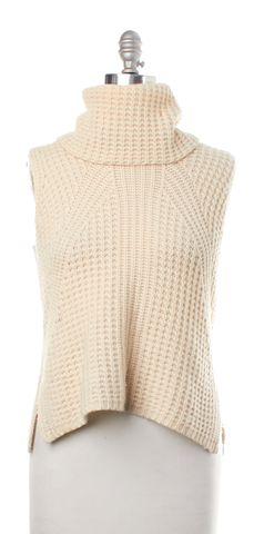 INTERMIX Ivory Wool Cowl Neck Sleeveless Sweater