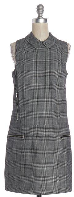 INTERMIX Gray Plaids Houndstooth Wool Sleeveless Shift Dress