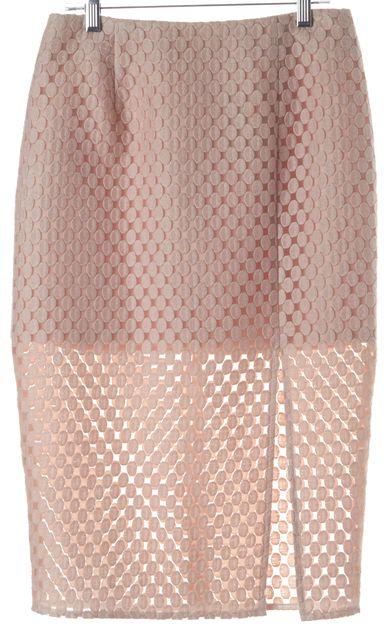 INTERMIX Pink Polka Dot Embroidered Sheer Combo Front Slit Pencil Skirt