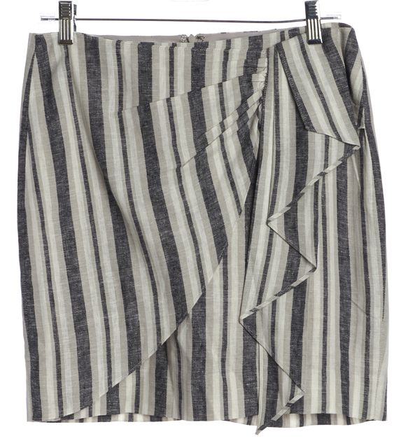 INTERMIX Gray Navy Striped Linen Mini Skirt