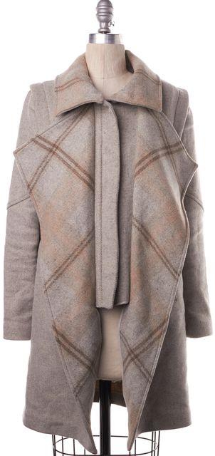 INTERMIX Gray Beige Multi Plaid Long Wool Coat