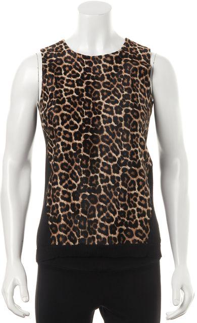 INTERMIX Black Cotton Calf Hair Leopard Print Tank Top