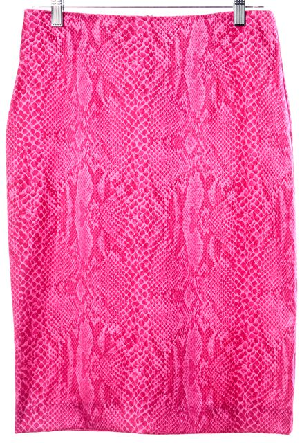 INTERMIX Hot Pink Snake Print Knee-Length Straight Skirt