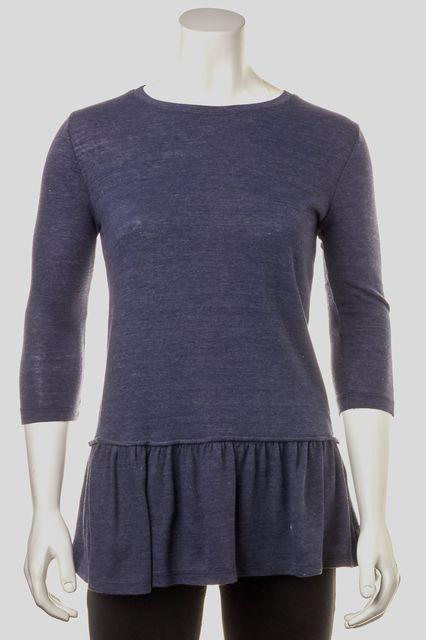 INTERMIX Blue Casual Basic Ruffle Bottom Tee T-Shirt