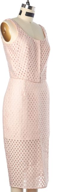 INTERMIX Pink Embroidered Polka Dot Pencil Skirt Crop Top Set