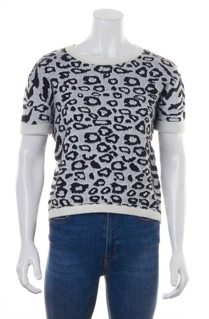 INTERMIX White Black Animal Printed Short Sleeve Crewneck Knit Sweater Top