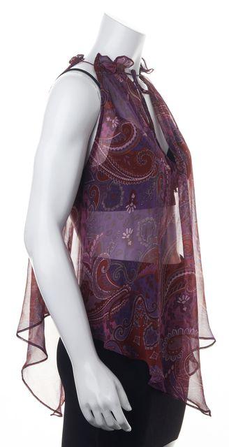 INTERMIX Purple Red Pink Paisley Printed Sheer Silk Sleeveless Blouse Top