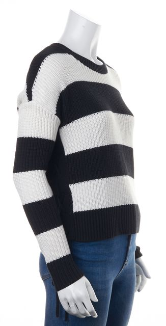 INTERMIX Black White Striped Chunky Knit Side Tie Relaxed Crewneck Sweater