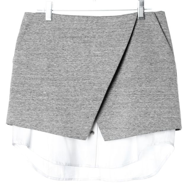 INTERMIX Gray White Above Knee Wrap Effect Straight Skirt