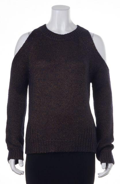 INTERMIX Purple Crewneck Cut-Out Shoulders Sweater