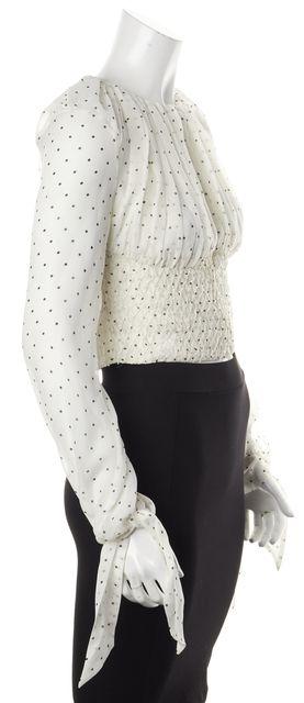 INTERMIX White Polka Dot Bead Embellished Silk Fontana Blouse