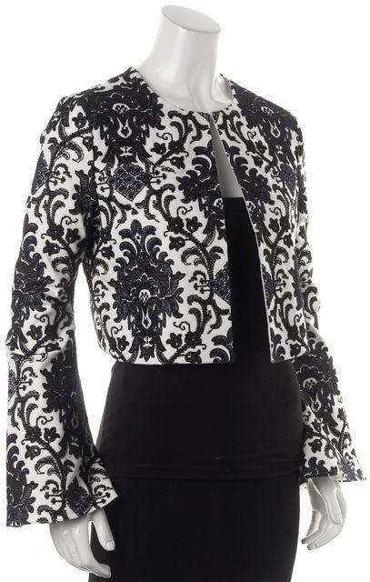 INTERMIX Black Floral Embroidered Print Flared Cuff Jacket
