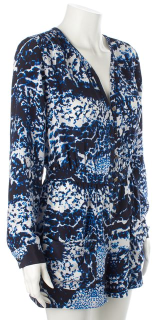 INTERMIX Blue Black White Abstract Silk Pocket Front V-Neck Romper