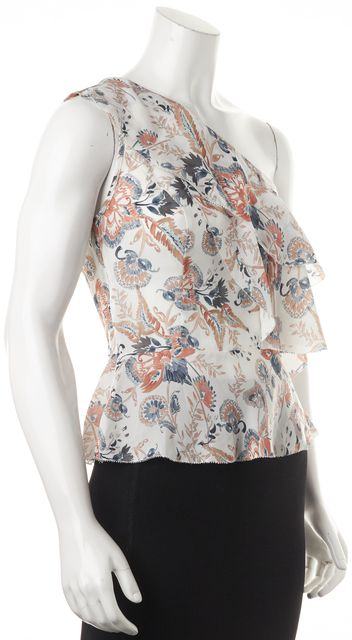 INTERMIX White Blue Floral Printed Silk One Shoulder Layered Blouse Top
