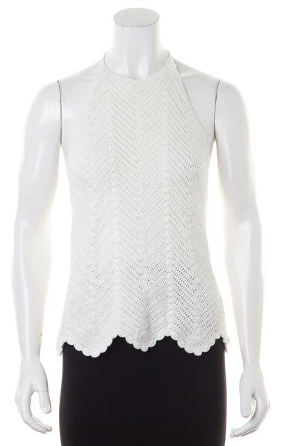 INTERMIX White Cotton Halter Neck Low Back Knit Top