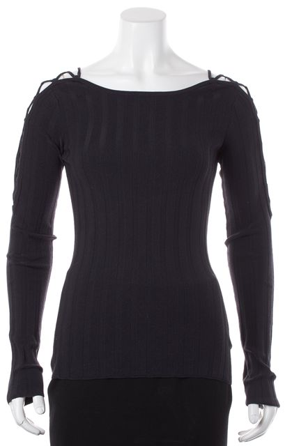 INTERMIX Navy Blue Braided Cold Shoulder Long Sleeves Ribbed Knit Top